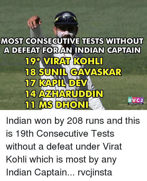 Memes, 🤖, and Virat Kohli: MOST CONSECUTIVE TESTS WITHOUT  ADEFEAT FOR AN INDIAN CAPTAIN  19 VIRAT KOHLI  18  SUNIL GAVASKAR  117 KAPIL DEV  14  AZHARUDDIN  11 MS  DHONI  A  RVCJ  WWW. RVCI COMA Indian won by 208 runs and this is 19th Consecutive Tests without a defeat under Virat Kohli which is most by any Indian Captain... rvcjinsta
