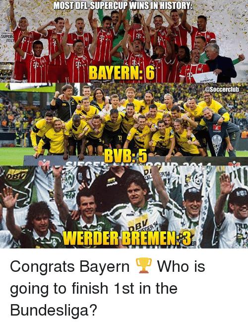 Memes, History, and Bayern: MOST DFL-SUPERCUP WINS IN HISTORY  SUPER  201  nd  BAYERN G  @Soccerclub  1T  3  WERDER BREMEN: 3. Congrats Bayern 🏆 Who is going to finish 1st in the Bundesliga?