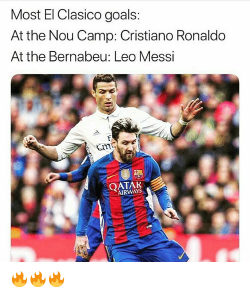 Cristiano Ronaldo, Goals, and Memes: Most El Clasico goals:  At the Nou Camp: Cristiano Ronaldo  At the Bernabeu: Leo Messi  QATAR  AIRWAYS 🔥🔥🔥