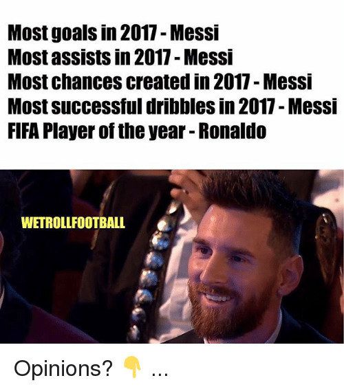 Fifa, Goals, and Memes: Most goals in 2017- Messi  Most assists in 2017 - Messi  Most chances created in 2017 - Messi  Most successful dribbles in 2017- Messi  FIFA Player of the year - Ronaldo  WETROLLFOOTBALL Opinions? 👇 ...