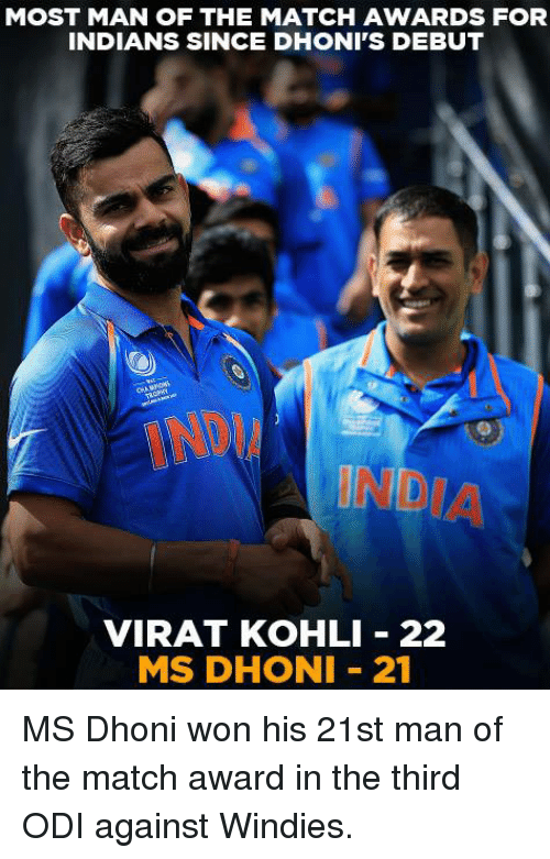 Memes, India, and Match: MOST MAN OF THE MATCH AWARDS FOR  INDIANS SINCE DHONI'S DEBUT  INDIA  VIRAT KOHLI 22  MS DHONI 21 MS Dhoni won his 21st man of the match award in the third ODI against Windies.