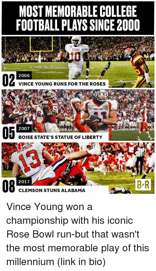 most memorable college football plays since2000 texas 2006 vince young 23253379 ✅ 25 best memes about football plays football plays memes