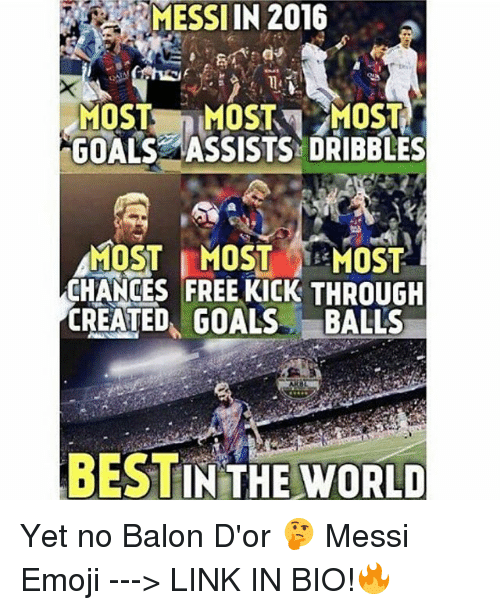 Memes, 🤖, and Dribble: MOST  MOST MOST  GOALS ASSISTS DRIBBLES  MOST MOST MOST  CHANGES FREE KICK THROUGH  CREATED GOALS. BALLS  BESTIN THE  WORLD Yet no Balon D'or 🤔 Messi Emoji ---> LINK IN BIO!🔥