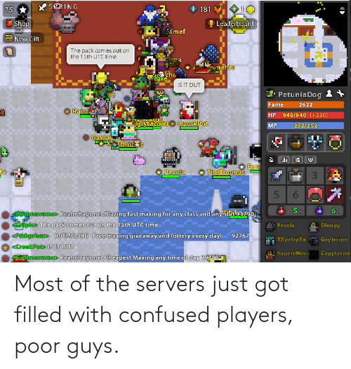 Confused, Got, and Servers: Most of the servers just got filled with confused players, poor guys.