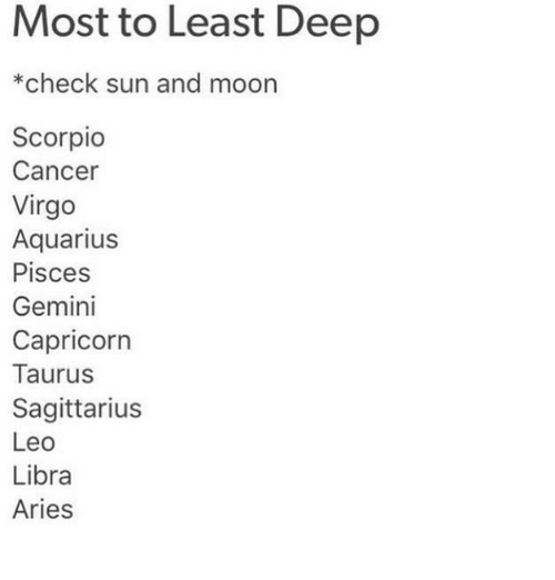 Most to Least Deep *Check Sun and Moon Scorpio Cancer Virgo Aquarius