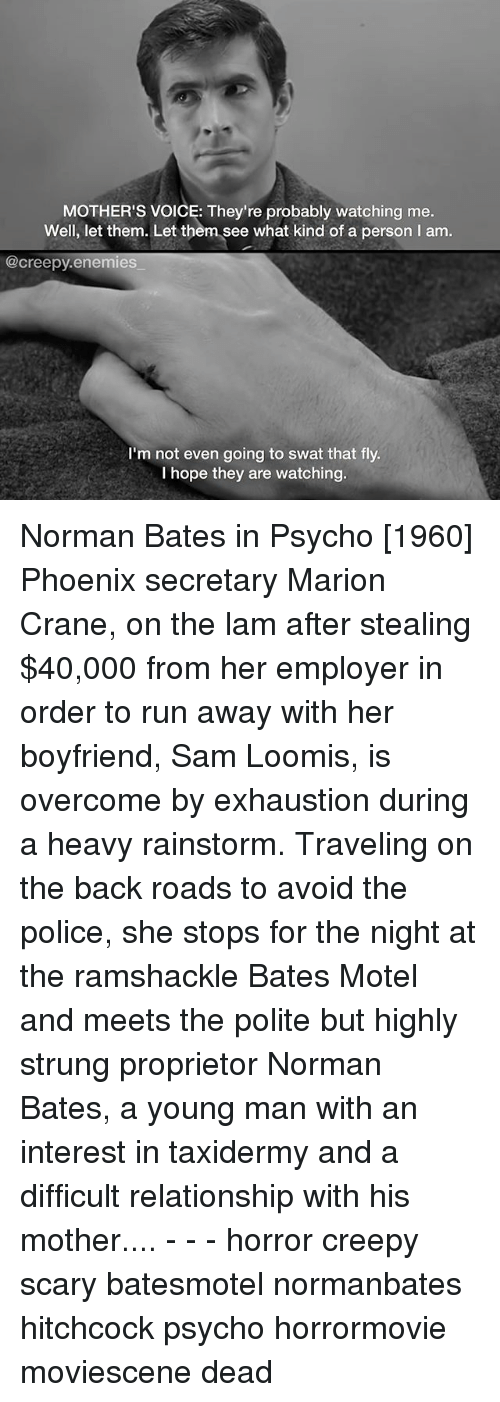 Memes, 🤖, and Mother: MOTHER'S VOICE: They're probably watching me  Well, let them. Let them see what kind of a person l am  @creepy enemies  I'm not even going to swat that fly.  hope they are watching. Norman Bates in Psycho [1960] Phoenix secretary Marion Crane, on the lam after stealing $40,000 from her employer in order to run away with her boyfriend, Sam Loomis, is overcome by exhaustion during a heavy rainstorm. Traveling on the back roads to avoid the police, she stops for the night at the ramshackle Bates Motel and meets the polite but highly strung proprietor Norman Bates, a young man with an interest in taxidermy and a difficult relationship with his mother.... - - - horror creepy scary batesmotel normanbates hitchcock psycho horrormovie moviescene dead