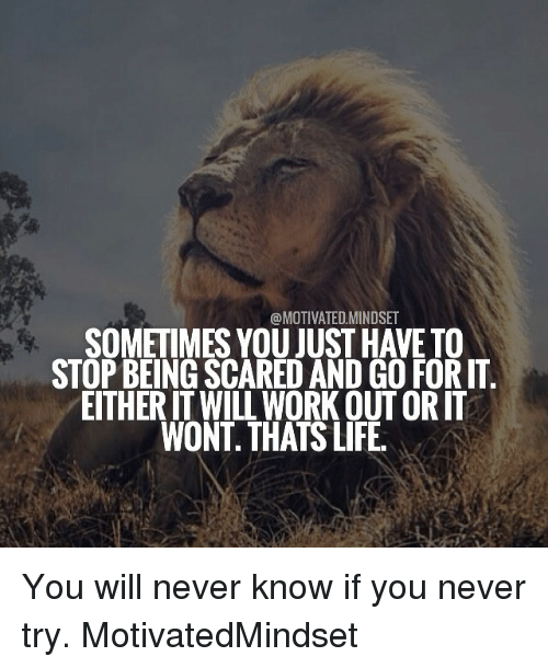 Memes, 🤖, and Work Out: @MOTIVATED MINDSET  SOMETIMES YOU JUST HAVETO  STOP BEING SCARED AND GO FOR IT  EITHERIT WILL WORK OUT ORIT  WONT THATS LIFE You will never know if you never try. MotivatedMindset