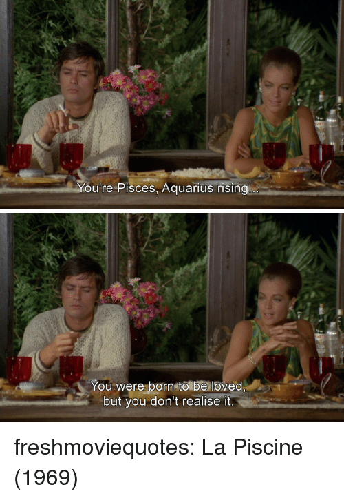 Tumblr, Aquarius, and Blog: Mou're Pisces, Aquarius rising   You were born to be loved  but you don't realise it freshmoviequotes: La Piscine (1969)