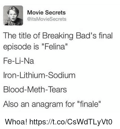 "Funny, Anagram, and Movie: Movie Secrets  @itsMovieSecrets  The title of Breaking Bad's final  episode is ""Felina""  Fe-Li-Na  Iron-Lithium-Sodium  Blood-Meth-Tears  Also an anagram for ""finale"" Whoa! https://t.co/CsWdTLyVt0"
