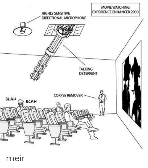Movie, Experience, and MeIRL: MOVIE WATCHING  EXPERIENCE ENHANCER 2000  HIGHLY SENSITVE  DIRECTIONAL MICROPHONE  TALKING  DETERRENT  CORPSE REMOVER  BLAH  BLAH meirl
