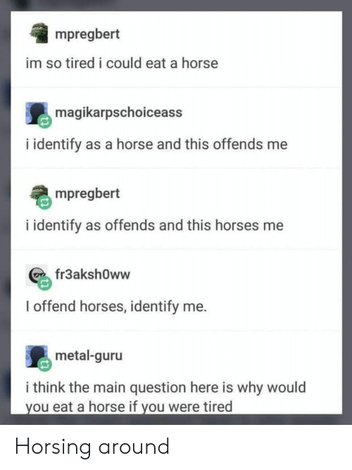 Horses, Horse, and Metal: mpregbert  im so tired i could eat a horse  magikarpschoiceas:s  i identify as a horse and this offends me  mpregbert  i identify as offends and this horses me  fr3aksh0ww  I offend horses, identify me.  metal-guru  i think the main question here is why would  you eat a horse if you were tired Horsing around