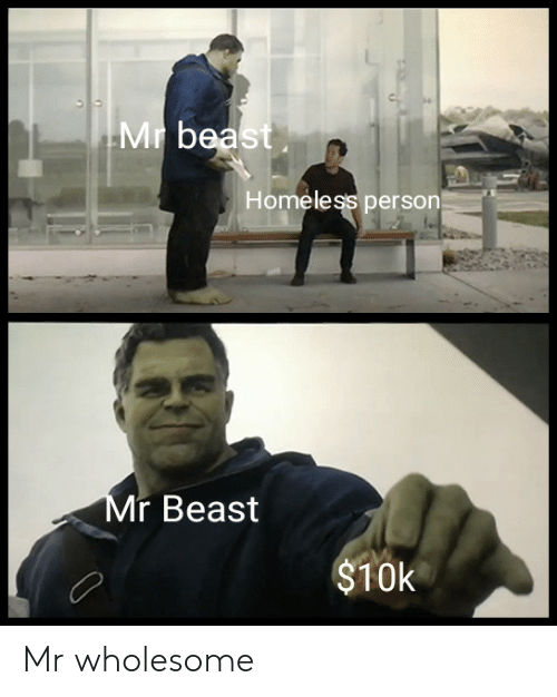 Homeless, Wholesome, and Beast: Mr bea  Homeless person  r Beast  $10k Mr wholesome