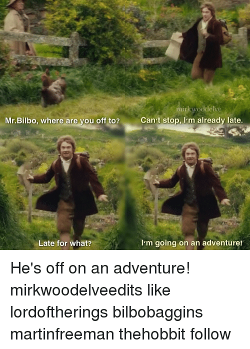 Bilbo, Memes, and 🤖: Mr. Bilbo, where are you off to?  Can't stop, I'm already late  I'm going on an adventure!  Late for what? He's off on an adventure! mirkwoodelveedits like lordoftherings bilbobaggins martinfreeman thehobbit follow