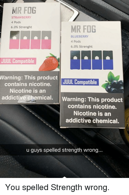 Nicotine Fog And Blueberry MR FOG STRAWBERRY 4 Pods 60 Strenght