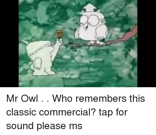 Memes, 🤖, and Classics: Mr Owl . .  Who remembers this classic commercial?  tap for sound please  ms