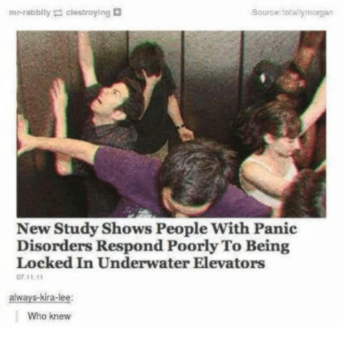 Who, Source, and Lee: mr-rabbity clestroying  Source totallymorgan  New Study Shows People With Panic  Disorders Respond Poorly To Being  Locked In Underwater Elevators  07 11.1  alwavs-kira-lee:  Who knew