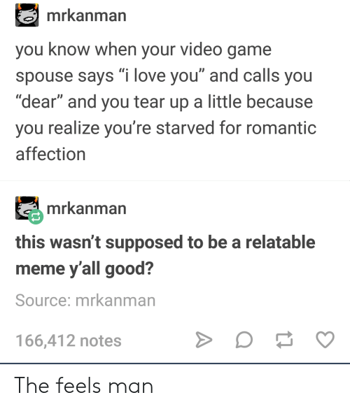 """Love, Meme, and I Love You: mrkanman  you know when your video game  spouse says """"i love you"""" and calls you  """"dear"""" and you tear up a little because  you realize you're starved for romantic  affection  mrkanman  this wasn't supposed to be a relatable  meme y'all good?  Source: mrkanman  166,412 notes The feels man"""