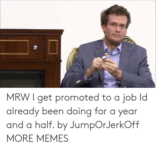 Dank, Memes, and Mrw: MRW I get promoted to a job Id already been doing for a year and a half. by JumpOrJerkOff MORE MEMES