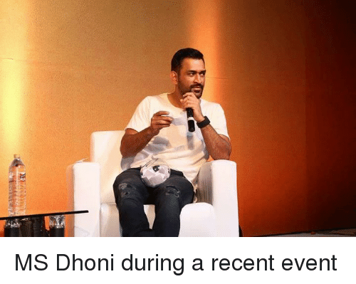 Memes, 🤖, and Dhoni: MS Dhoni during a recent event
