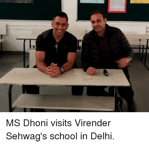 Memes, 🤖, and Dhoni: MS Dhoni visits Virender Sehwag's school in Delhi.