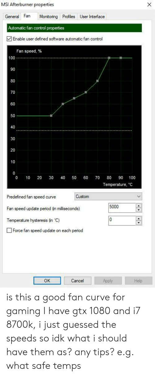 MSI Afterburner Properties General Fan Monitoning Profiles