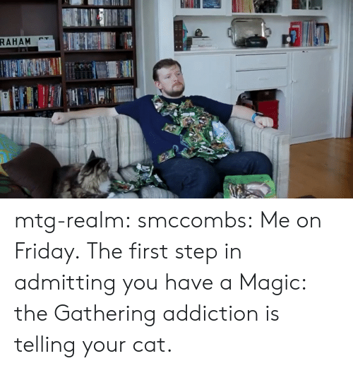 Friday, Tumblr, and Blog: mtg-realm:  smccombs:  Me on Friday.  The first step in admitting you have a Magic: the Gathering addiction is telling your cat.