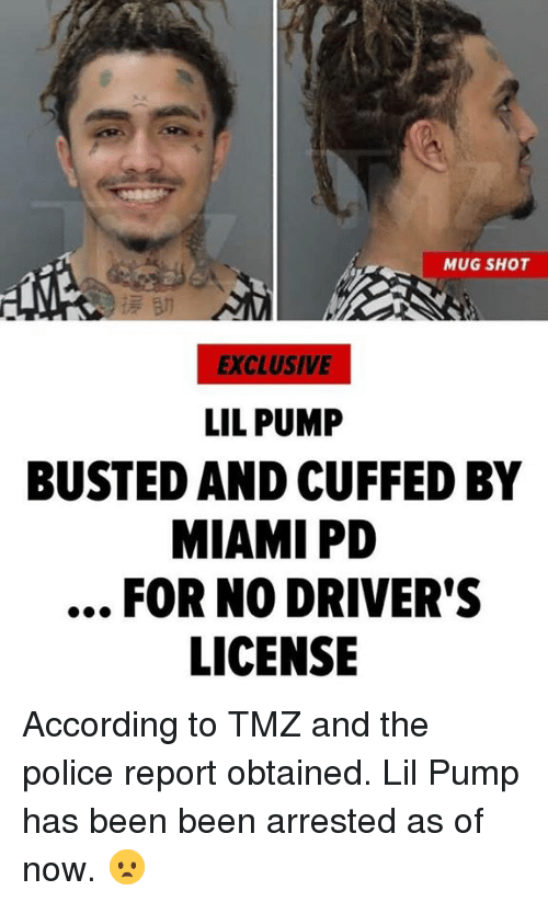 MUG SHOT EXCLUSIVE LIL PUMP BUSTED AND CUFFED BY MIAMI PD FOR NO