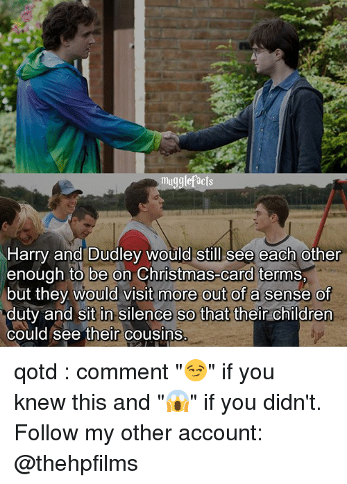 """Children, Christmas, and Memes: mugglefacts  Harry and Dudley would still see each other  enough to be on Christmas-card terms,  but they would visit more out of a sense of  duty and sit in silence so that their children  could see their cousins. qotd : comment """"😏"""" if you knew this and """"😱"""" if you didn't. Follow my other account: @thehpfilms"""