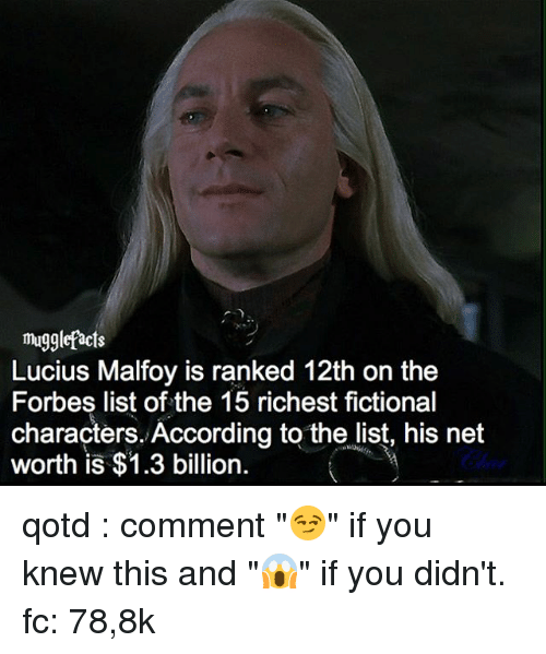 mugglefacts lucius malfoy is ranked 12th on the forbes list 14220560 ✅ 25 best memes about fictional characters fictional