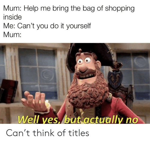 Shopping, Help, and Yes: Mum: Help me bring the bag of shopping  inside  Me: Can't you do it yourself  Mum:  Well yes, but actually no Can't think of titles