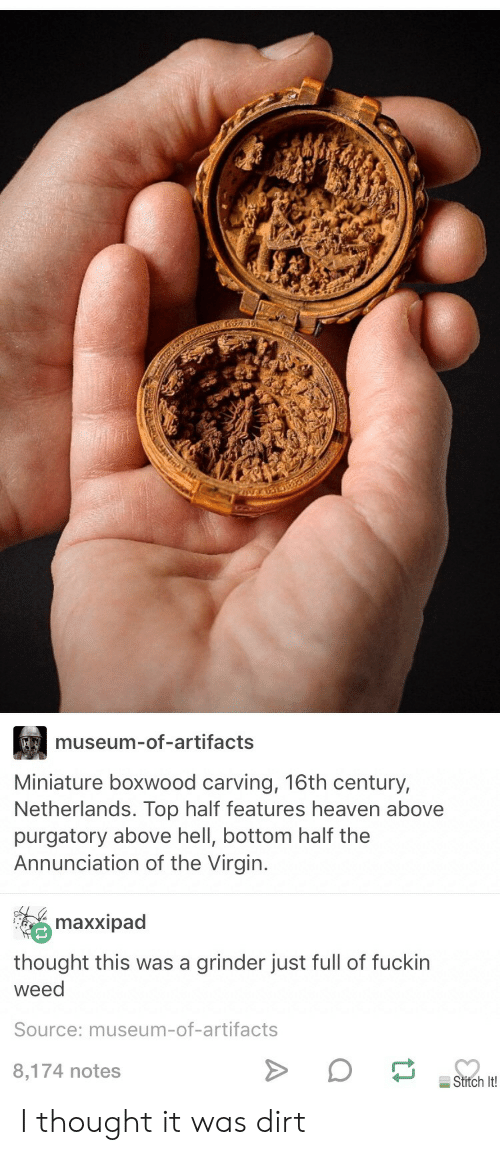 Museum of artifacts miniature boxwood carving th century