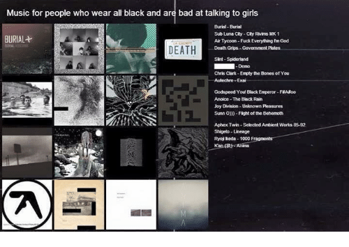 Bad, Bones, and Fucking: Music for people who wear all black and are bad attalking to girls  Burial-Burial  Sub Luna City City Rivims MK 1  BURIAL  AirTycoon Fuck Everything nm God  DEATH  Death Grips Government  Pates  Sint-Spiderland  Demo  Chris Clark-Empty the Bones ofYou  Autechre-Exai  Godspeed You Black Emperor-FaA oo  Anoice The Black Rain  Joy Division-Unknown Pleasures  Sunn O)))- Flight of the Behemoth  Aphex Twin-Selected Ambient Works 85-92  Shigeto Lineage  Ryoj keda 1000 Fragments  Kandt Anima