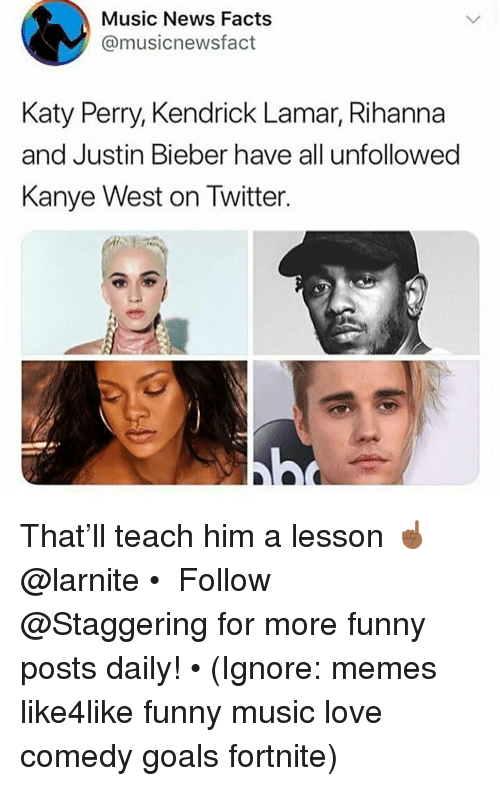 Facts, Funny, and Goals: Music News Facts  @musicnewsfact  Katy Perry, Kendrick Lamar, Rihanna  and Justin Bieber have all unfollowed  Kanye West on Twitter That'll teach him a lesson ☝🏾 @larnite • ➫➫➫ Follow @Staggering for more funny posts daily! • (Ignore: memes like4like funny music love comedy goals fortnite)