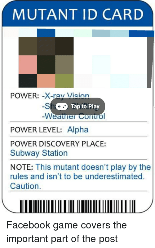 MUTANT ID CARD POWER-Xavuson -S Weauner Cont Tap to Play POWER LEVEL