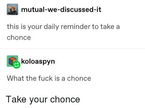 Fuck, What, and This: mutual-we-discussed-it  this is your daily reminder to take a  chonce  koloaspyn  What the fuck is a chonce Take your chonce