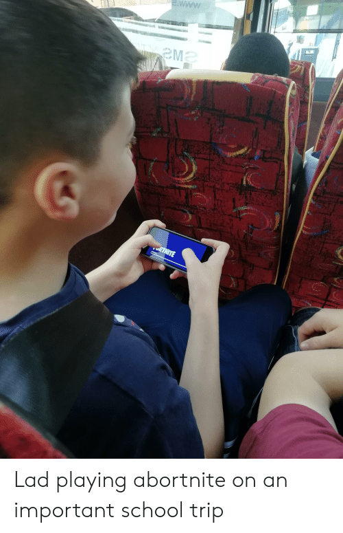 School, Trip, and Lad: MwM  wwwww  RTNITE Lad playing abortnite on an important school trip