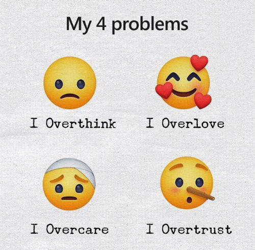 Problems,  Overthink, and Overlove: My 4 problems  I Overlove  I Overthink  I Overcare  I Overtrust