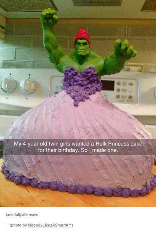 My 4 Year Old Twin Girls Wanted A Hulk Princess Cake For Their