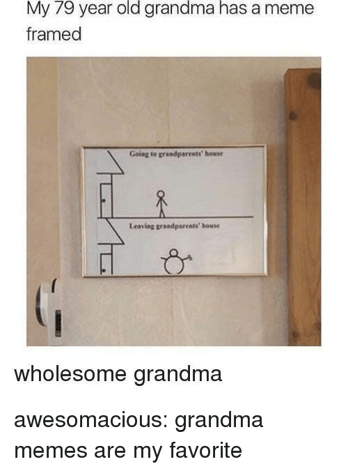 Grandma, Meme, and Memes: My 79 year old grandma has a meme  framed  Going to grandparests' howse  Leaving grandpareats house  wholesome grandma awesomacious:  grandma memes are my favorite