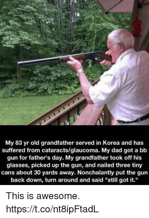"Dad, Fathers Day, and Memes: My 83 yr old grandfather served in Korea and has  suffered from cataracts/glaucoma. My dad got a bb  gun for father's day. My grandfather took off his  glasses, picked up the gun, and nailed three tiny  cans about 30 yards away. Nonchalantly put the gun  back down, turn around and said ""still got it."" This is awesome. https://t.co/nt8ipFtadL"