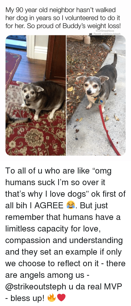 """Bless Up, Dogs, and Love: My 90 year old neighbor hasn't walked  her dog in years so I volunteered to do it  for her. So proud of Buddy's weight loss!  @DrSmashlove  Reddit u/strikeoutsteph To all of u who are like """"omg humans suck I'm so over it that's why I love dogs"""" ok first of all bih I AGREE 😂. But just remember that humans have a limitless capacity for love, compassion and understanding and they set an example if only we choose to reflect on it - there are angels among us - @strikeoutsteph u da real MVP - bless up! 🔥❤️"""