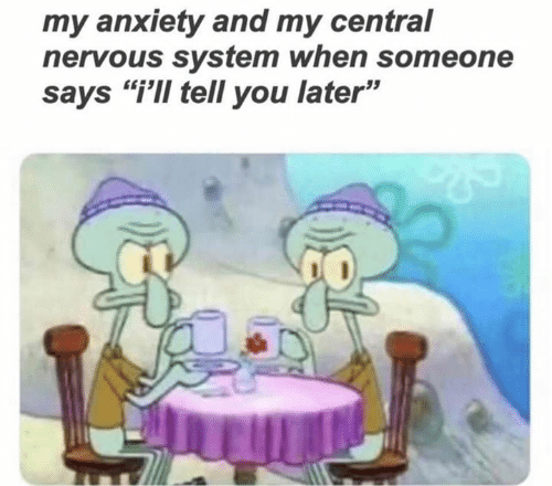 "Anxiety, You, and System: my anxiety and my central  nervous system when someone  says ""i'Il tell you later"""