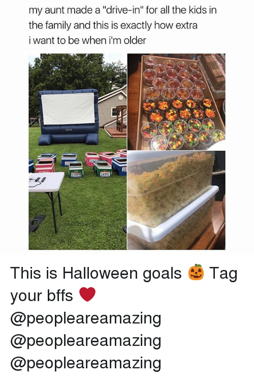 """Family, Goals, and Halloween: my aunt made a """"drive-in"""" for all the kids in  the family and this is exactly how extra  i want to be when i'm older This is Halloween goals 🎃 Tag your bffs ❤️ @peopleareamazing @peopleareamazing @peopleareamazing"""