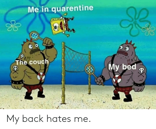 Back,  Hates, and  My Back: My back hates me.