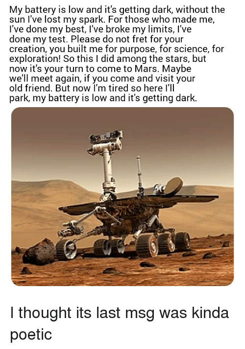 did the mars rover say my battery is low - photo #18
