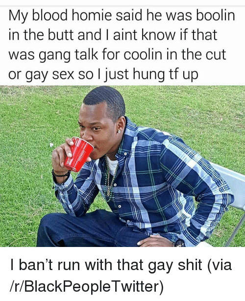 Blackpeopletwitter, Butt, and Homie: My blood homie said he was boolin  in the butt and I aint know if that  was gana talk for coolin in the cut  or gay sex so I just hung tf up <p>I ban't run with that gay shit (via /r/BlackPeopleTwitter)</p>