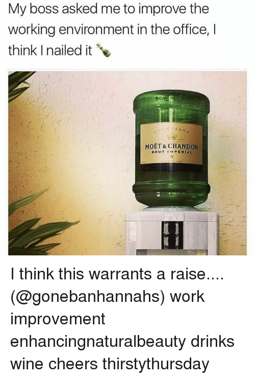 Girl Memes, Working, and Boss: My boss asked me to improve the  working environment in the office,  think nailed it  MOET & CHANDON  DRUT IMPERIAL I think this warrants a raise.... (@gonebanhannahs) work improvement enhancingnaturalbeauty drinks wine cheers thirstythursday