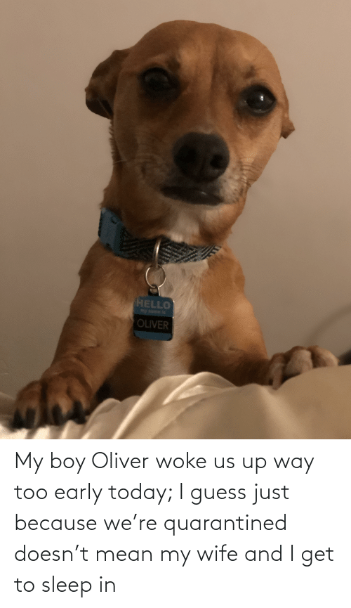 Guess, Mean, and Today: My boy Oliver woke us up way too early today; I guess just because we're quarantined doesn't mean my wife and I get to sleep in