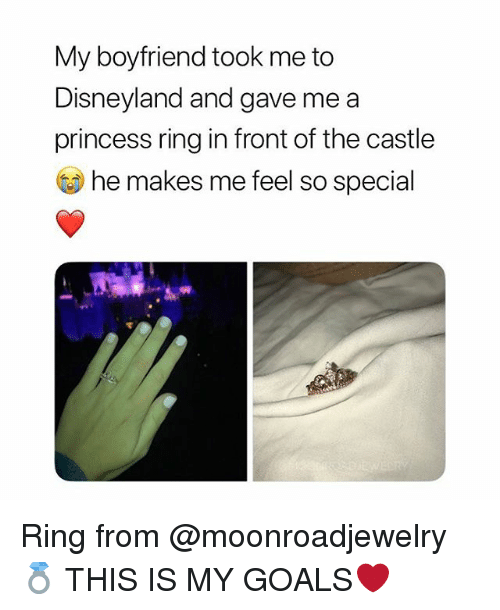 Disneyland, Goals, and Princess: My boyfriend took me to  Disneyland and gave me a  princess ring in front of the castle  he makes me feel so special Ring from @moonroadjewelry💍 THIS IS MY GOALS❤