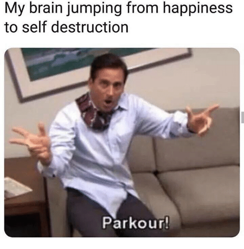 Dank, Brain, and Parkour: My brain jumping from happiness  to self destruction  Parkour